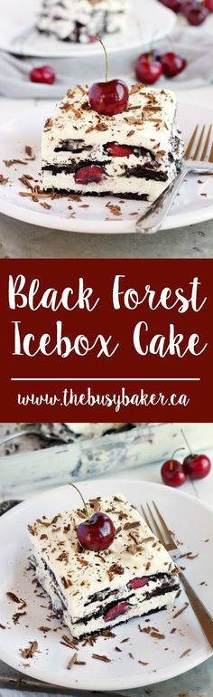 This Black Forest Icebox Cake is a delicious no-bake dessert for summer! And it's such an easy recipe!! www.thebusybaker.ca