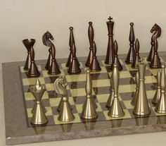 Art Deco Chess Set | Bronze Pewter Chess Pieces | Glossy Board