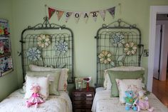 From the Bachman's 2012 Spring Ideas House. such a cute bedroom with the repurposed garden gates Old Garden Gates, Old Gates, Metal Gates, Iron Gates, Fence Gates, Rusty Garden, Garden Fences, Garden Junk, Fencing