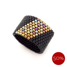 Geometric Black Beaded Ring Band, Gold Stripe Ring for Men, Pinkie Men Ring, Pharaoh, 50% Off - Price Already Marked Down