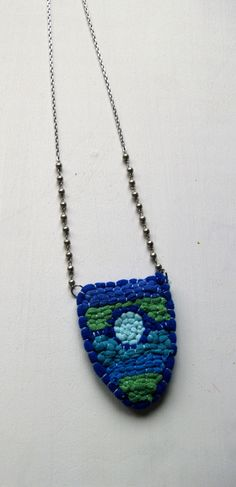 Blue Door Textile Necklace made with by EarlyMorningProjects, Handmade Jewelry, Unique Jewelry, Handmade Gifts, Textiles, Pendant Necklace, Trending Outfits, Blue, Etsy, Vintage