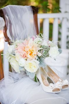 Gorgeous bouquet of dahlias, garden roses, astilbe, succulents + ranunculus by Branch Design Studio // Romantic Pink, Peach + Sea Green Wedding at Oak Point Plantation on the Stono in Charleston SC // Dana Cubbage Weddings // Charleston SC + Destination Wedding Photographer