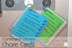 Free Time Frolics: Command Center {Chore Cards} Based on Parenting Breakthrough Zone Cleaning, Cleaning Checklist, Cleaning Hacks, Cleaning Recipes, Printable Chore Cards, Free Printables, Family Command Center, Command Centers, How To Clean Mirrors