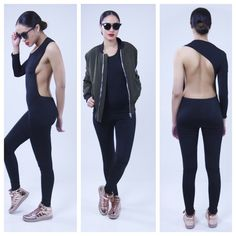 Claudia Jumpsuit Ready to show it all off? unleash your dark side in this claudia jumpsuit. Cutout deep side, one long sleeve you will make sure jaws drop to the floor when you walk in any room.  95% Polyester 5% Spandex Made in China Color: Black Model Size: Small The difference boutique  Other