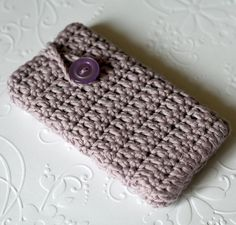 Lilac Crochet Iphone Cover/Case    100 by BlueberryBarnKnits, £10.00
