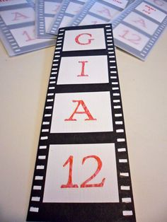 segment of a reel of film for a movie party