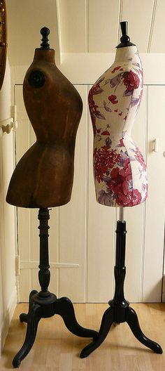 Enchanting Dress Forms & Mannequins ... A vintage Stockman mannequin with a new wasp waisted mannequin.