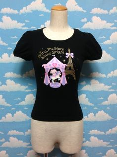 Usakumya-chan Paris Short Sleeves T-shirt in Black from Baby, the Stars Shine Bright - Lolita Desu