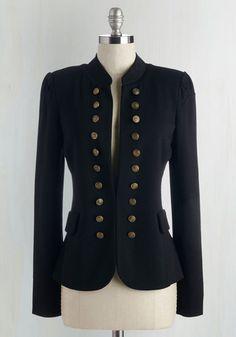 Short Steampunk Jacket with buttons -  I Glam Hardly Believe It Blazer in Black $49.99 AT vintagedancer.com
