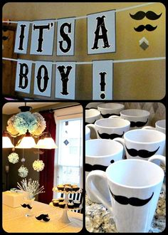 Always looking for cute BOY baby shower ideas. Absolutely love the mustache theme! Boy Baby Shower Themes, Baby Shower Fun, Baby Shower Gender Reveal, Baby Shower Cakes, Shower Party, Baby Shower Parties, Shower Games, Baby Shower Decorations, Baby Shower Gifts