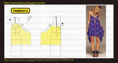 Summer Dress Pattern -shows how to draft to obtain the uneven hem