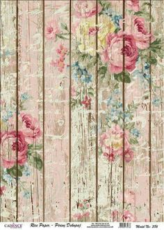 Floral pattern, floor boards, shabby chic roses #homedecor #floral #vintage #faded