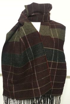 Cashmere Plaid Pattern Men's Scarf - Gray, Green and Claret Red Scarf - Wool Men's Scarf - B10191 #handmadeatamazon #nazodesign