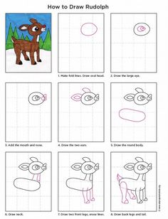 How to draw Rudolph. PDF tutorial available. #artprojectsforkids #rudolph #howtodraw