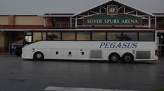 Pegasus Transportation buses outside the Silver Spurs Arena