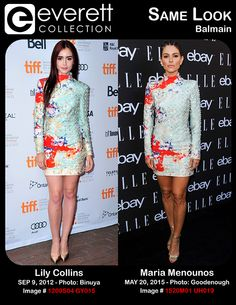 Lily Collins (wearing a Balmain dress) at arrivals for WRITERS Premiere at Toronto International Film Festival, Ryerson Theatre, Toronto, ON September 9, 2012. Photo By: Gregorio Binuya/Everett Collection *** Maria Menounos (wearing a Balmain dress) at arrivals for 6th Annual ELLE Women In Music Celebration Presented by eBay, BOULEVARD3, Los Angeles, CA May 20, 2015. Photo By: Elizabeth Goodenough/Everett Collection