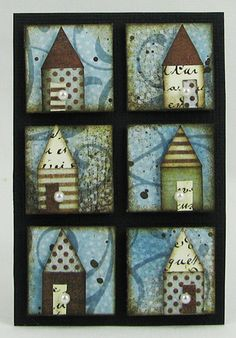 Inchies houses by shari carroll 2 in Kitsch, Pocket Letter, Inchies, Inspiration Artistique, Decoupage, Arts And Crafts, Paper Crafts, Paper Art, Atc Cards