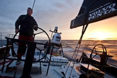 PUMA Ocean Racing powered by BERG, Tony Mutter driving the sunset watch during leg 3 of the Volvo Ocean Race 2011-12, from Abu Dhabi, UAE to Sanya, China.