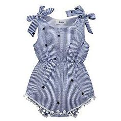 9fb7d2c071d BOBORA Newborn Baby Girls Rompers One-pieces Pompom Bow Jumpsuits Sleeveless  Blue Stri