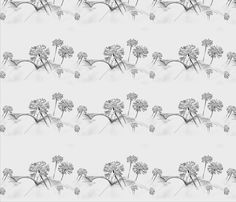 Agapanthus Near Bridge - drawing illustration on  fabric by andreart on Spoonflower - custom fabric