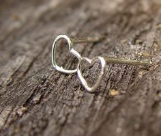 Teensy Silver Heart Earrings / Mother's Day by fallingleafjewelry