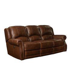 Barcalounger Cedar Hill Casual Comforts Power Leather Recliner Sofa