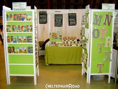 Do arrangement like this for ODN booths.  Put chalkboard and chalk for kids to draw on while parents talk.  Resource flyers on table -- things on walls for kids to do.