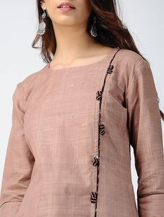 Beige Striped Handloom Cotton Kurta P. Kurti Sleeves Design, Sleeves Designs For Dresses, Neck Designs For Suits, Kurta Neck Design, Neckline Designs, Dress Neck Designs, Salwar Designs, Simple Kurti Designs, Kurta Designs Women