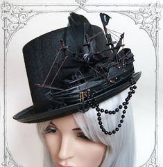 Ship Tophat (Goth, topper, steampunk, black, hat , pirate )