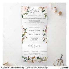 Tri Fold Wedding Invitations, Wedding Invitation Wording, Wedding Rsvp, Printable Invitations, Zazzle Invitations, Wedding Stationery, Wedding Ideas, Floral Save The Dates, Magnolia