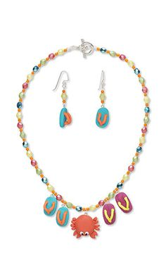 e3e7e97ce Fire Mountain Gems and Beads. See more. Colorful flip-flops flank a cute  crab in this whimsical beach-themed jewelry set