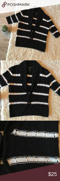 | WHITE HOUSE BLACK MARKET | STRIPED CARDIGAN Excellent condition striped WHBM chunky knit cardigan. Has sparkly silver and black thread sewed in. Perfect piece for fall and winter. Has hook and eyes that can be used to keep closed or worn opened. Bundle discounts & offers accepted! Thanks for looking 😊 White House Black Market Sweaters Cardigans