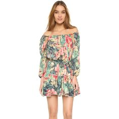 MLM LABEL Freda Dress (3.347.325 VND) ❤ liked on Polyvore featuring dresses, tropic animal, long-sleeve floral dresses, floral print dress, flower print dress, floral dress and watercolor floral dress