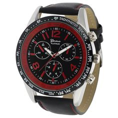 This fashionable watch features a sporty design, with red accents and decorative subdials.  The genuine leather strap is secured with an adjustable buckle clasp.