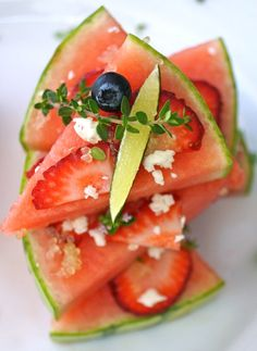 This raw watermelon pizza recipe with lime is a beautiful, refreshing, and super delicious summer dish! The lime flavor puts it over the top, and I always love finding new ways to use finger limes in recipes. This is a new favorite! Lettuce Recipes, Basil Recipes, Lime Recipes, Wrap Recipes, Watermelon Pizza, Watermelon Recipes, Fruit Recipes, Salad Recipes, Recipies