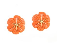 Hand-Carved Coral Earrings with 18k gold Posts - www.annaruthhenriques.com