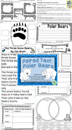 The Three Snow Bears by Jan Brett and N.G. Kids Polar Bears. Using paired text is an easy and fun way to ensure a balance of literature and informational text in your classroom. This set is ready to print and use!