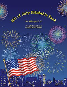 4th of July Printables Pack: A jam-packed downloadable file with 87 patriotic learning activities for kids ages 2-7. Perfect for celebrating and learning about America's Independence Day holiday! || Gift of Curiosity