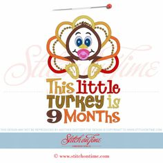 3205 Custom : This Little Turkey Is... Applique 5x7