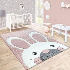 Kinderteppich Niedlicher Hase Pastell Rosa