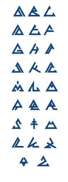 3 Ways to Improve Your Typography Alphabet Design Triangle Font, Triangle Symbol, Tattoo Fonts Alphabet, Typography Alphabet, Viking Logo, Viking Symbols, Alphabet Design, Symbole Triangle, Watermark Ideas