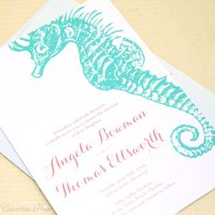 Seahorse and Starfish Wedding Invitation Aqua by ConcertinaPress, $3.99