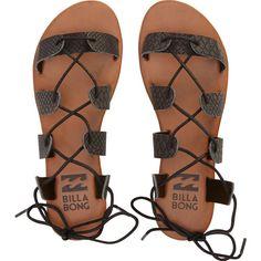 Billabong Women's Beach Brigade Sandals ($45) ❤ liked on Polyvore featuring shoes, sandals, flat sandals, flats, footwear, off black, black lace up flats, lace-up gladiator sandals, black sandals and billabong sandals