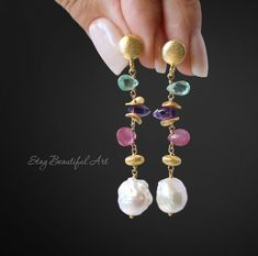 StayBeautifulArt の Gemstone Jewelry, earrings, necklaces, bracelets. Pink Sapphire Earrings, Pearl Drop Earrings, Bead Earrings, Gemstone Earrings, Pearl Jewelry, Beaded Jewelry, Jewelery, Handmade Jewelry, Silver Earrings