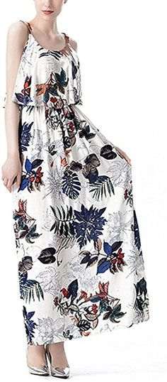 Nice:Pretty Womens Falbala Floral Print Casual Swing Sleeveless Shift Maxi Dress Dark Blue FloralMedium at Amazon Women's Clothing store: