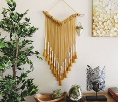 "Mengwi ""V"" Mustard Handbeaded Tassels Wall Hanging/Handmade Wall Decor/Bohemian Decor/Wedding Hanging rope Ethnic Decor, Bohemian Decor, Diy Bedroom Decor, Diy Home Decor, Bedroom Wall, Yarn Wall Hanging, Hanging Rope, Wall Hangings, Handmade Wall Hanging"