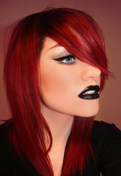 Love the red, & the black lipstick fits perfect Red To Blonde, Blonde Color, Blonde Honey, Beauty Makeup, Hair Makeup, Hair Beauty, Redhead Makeup, Goth Makeup, Sexy Makeup