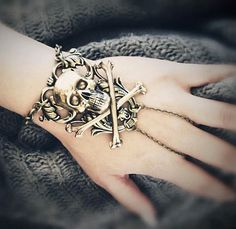 NEW - Victrix with Skull Cross Bones - SOLDERED - Slave Bracelet Ring - Antique Gold plated brass - Made in USA. $45.00, via Etsy.