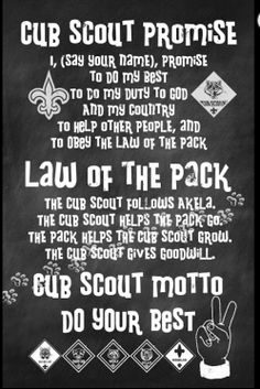 Cub Scout - Promise, Law, Motto I love to hear my son recite this. #PROUDMOM