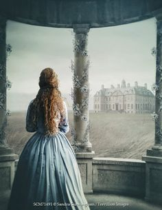 Sandra Cunningham HISTORICAL WOMAN ON TERRACE NEAR MANOR HOUSE Women